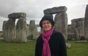 Cecilia Miller in front of Stonhenge